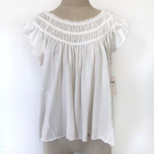 Free People We The Free Coconut Gathered Top
